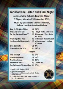 Johnsonville Tartan and Final Night 2019 @ Johnsonville School Hall | Wellington | Wellington | New Zealand