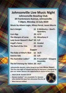 Johnsonville Live Music Night July 2020 @ Johnsonville Bowling Club | Wellington | Wellington | New Zealand