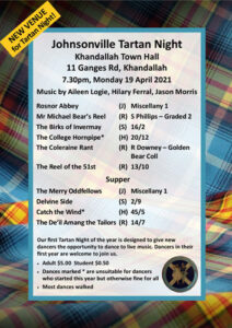 Johnsonville Tartan Night April 2021 @ Khandallah Town Hall | Wellington | Wellington | New Zealand