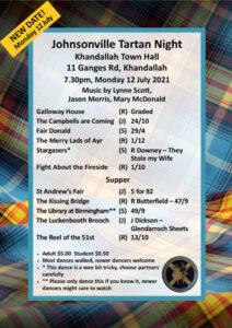 Johnsonville Tartan Night July 2021 @ Khandallah Town Hall   Wellington   Wellington   New Zealand